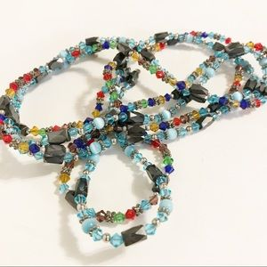 Jewelry - MAGNETIC BRACELET NECKLACE COMBINATION BLUE RED